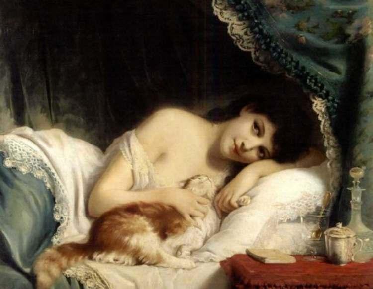 Fritz Zuber-Bühler, Liegende Schönheit mit Katze