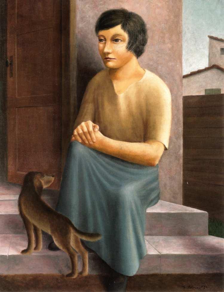 Georg Schrimpf | Mädchen mit Hund, 1924 | Privatbesitz