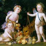 Gerard van Honthorst | Three putti with fruit and a jaguar, 1649
