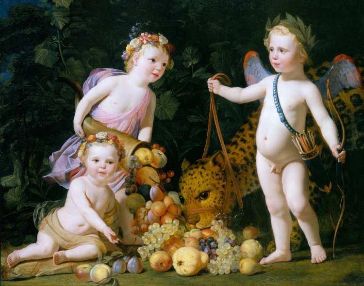 Gerard van Honthorst   Three putti with fruit and a jaguar, 1649