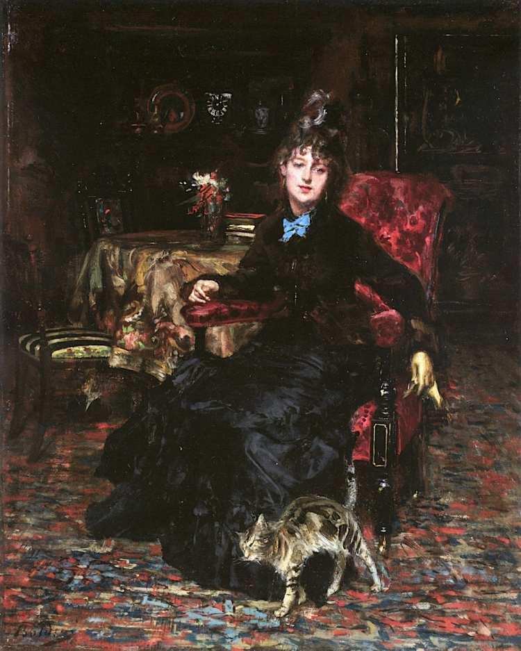 Giovanni Boldini | Sitzende Frau mit Katze, 1871