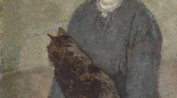 Gwen John | Young Woman Holding a Black Cat, ca. 1920-25