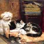 Henriëtte Ronner-Knip | Katze mit Kätzchen und einem freundlichen Hund