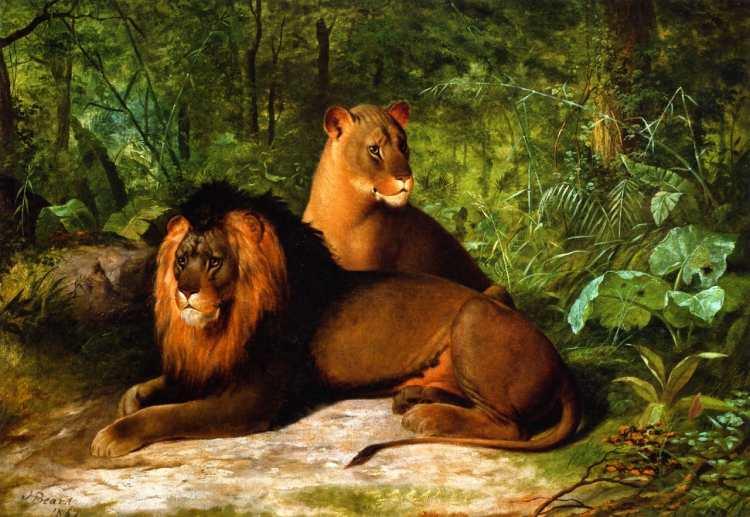 James Henry Beard   Lion and Lioness, 1867   Privatbesitz