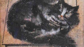 "Jankel Adler | Katze vor Grabstein (""Majn Kater Peter""), Detail, ca. 1927/28 | Privatbesitz"