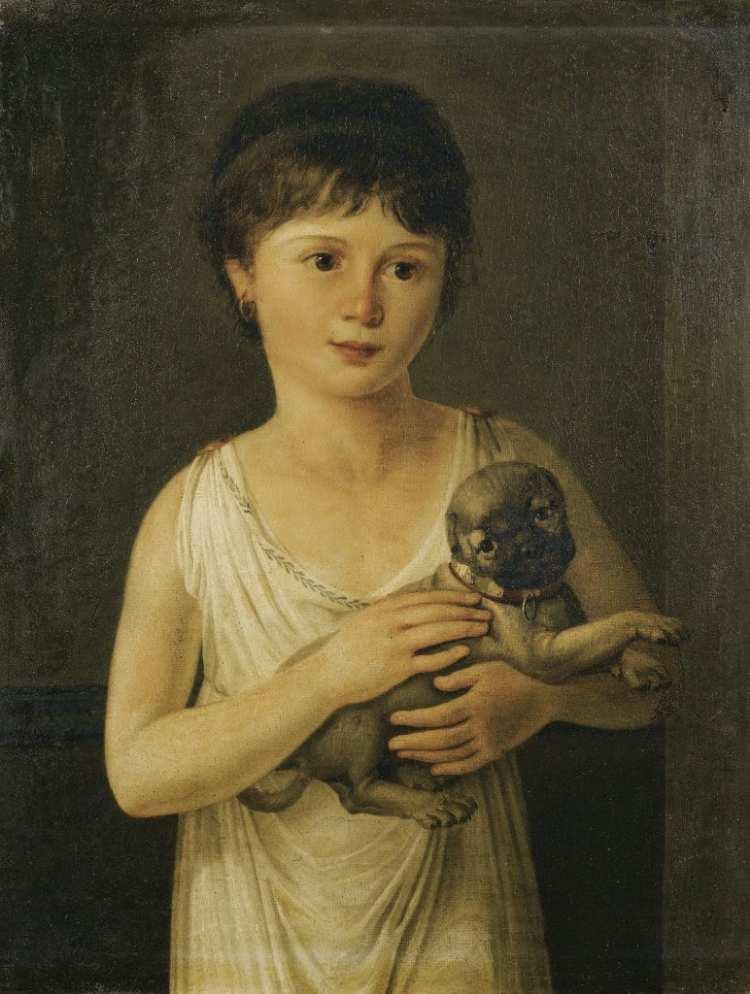 Jeanne-Elisabeth Chaudet | Porträt eines Mädchens mit Hund