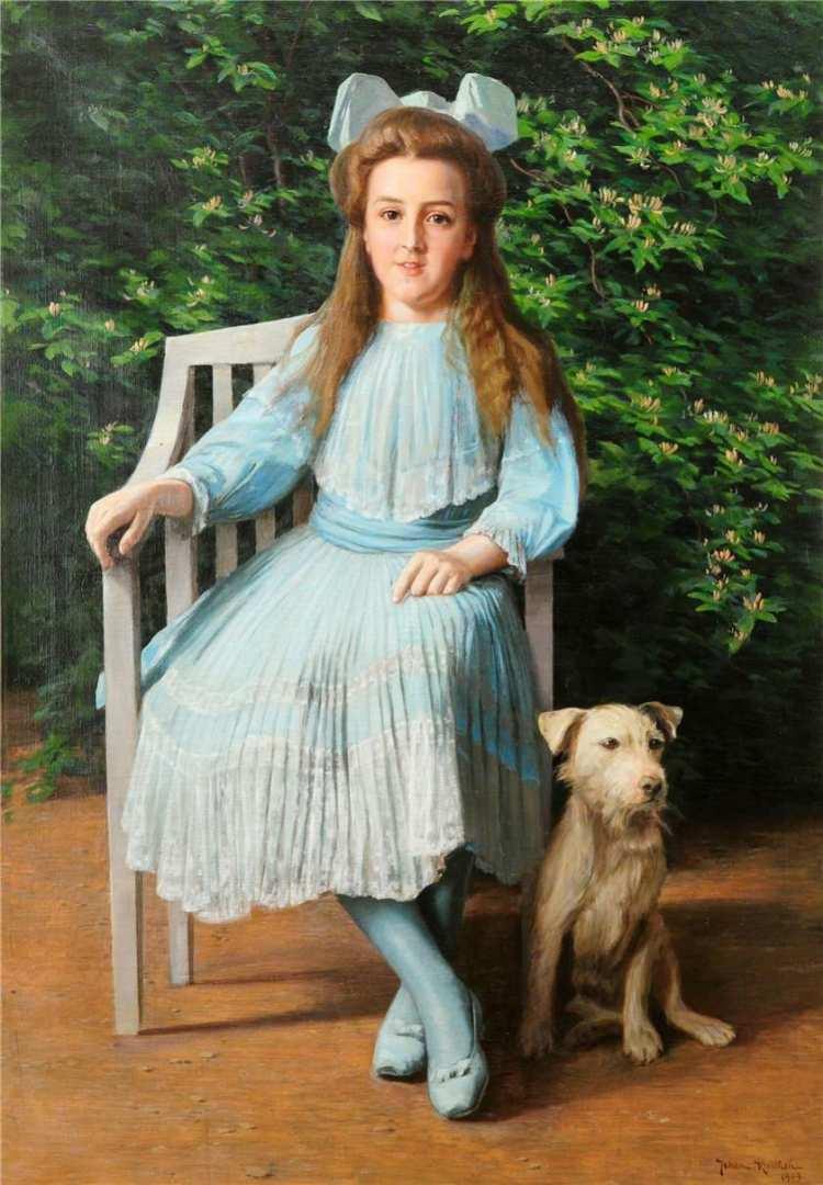 Johan Krouthén, Girl with Dog, 1909