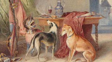 Johann Matthias Ranftl | Interieur mit Windhunden und Rüstungsstillleben | Privatbesitz