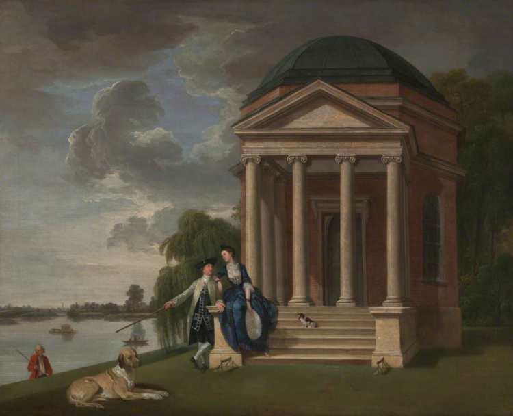 Johann Zoffany | David Garrick and His Wife by His Temple to Shakespeare, Hampton, ca. 1762