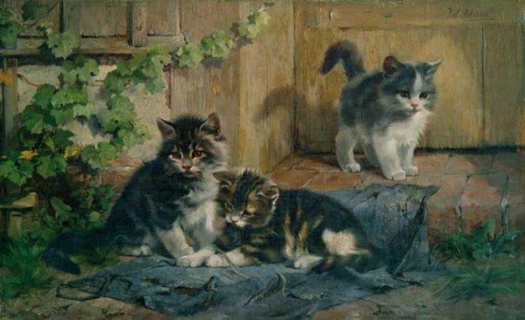 Julius Adam   Drei spielende Kätzchen