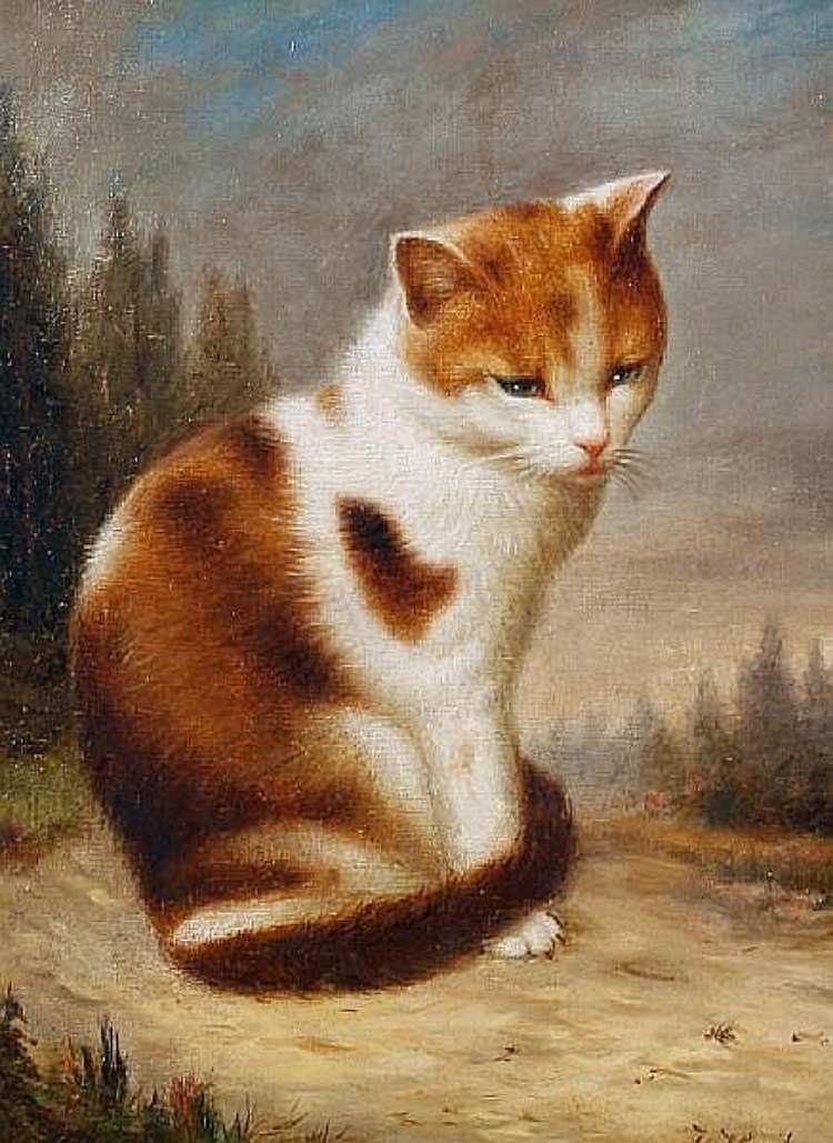 Julius Hamburger | Katze in einer Landschaft