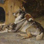 Karl Kristian Uchermann - Norwegischer Elchhund mit Welpen, 1894