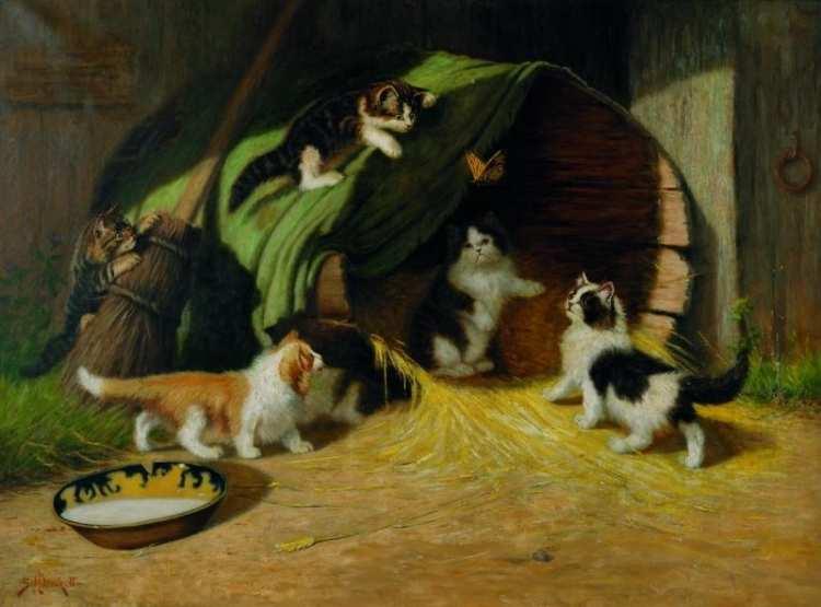 Sidney Lawrence Brackett | Kätzchen in einer Scheune