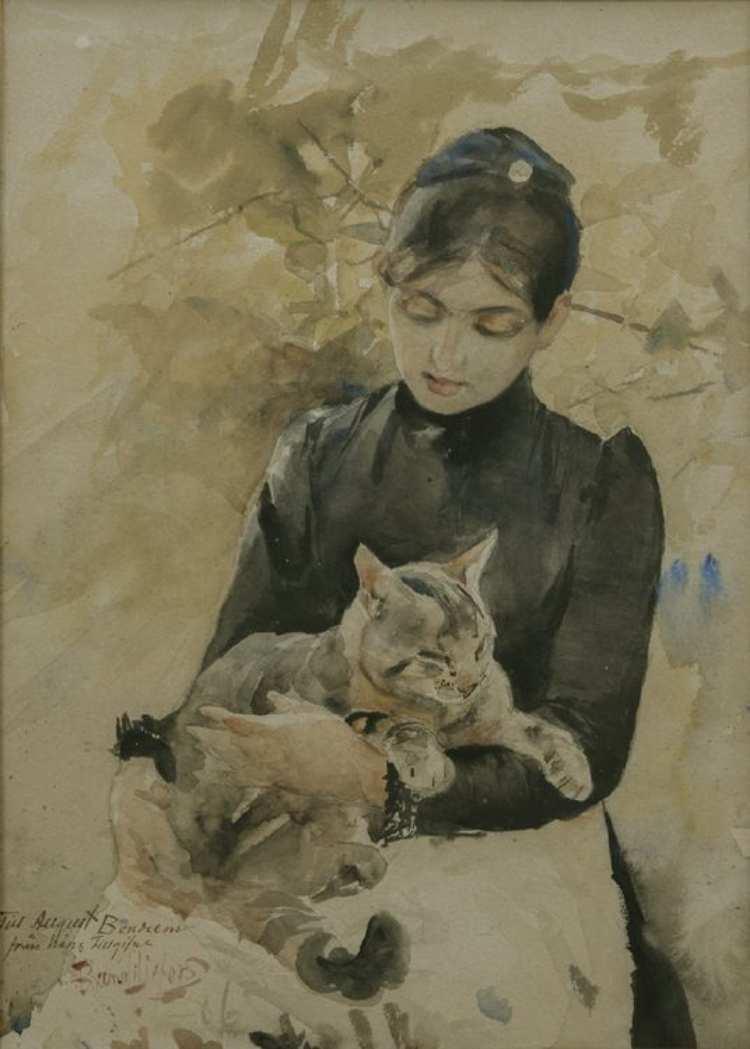 Bruno Andreas Liljefors | Sitzende Frau mit Katze, 1886 | Göteborgs Museum