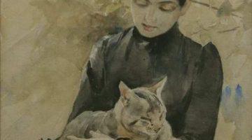 Bruno Andreas Liljefors | Sitzende Frau mit Katze, 1886 (Detail) | Göteborgs Museum
