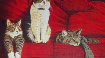 Rotes Sofa 3 | Harzöl auf Leinen | © Lilla Varhelyi
