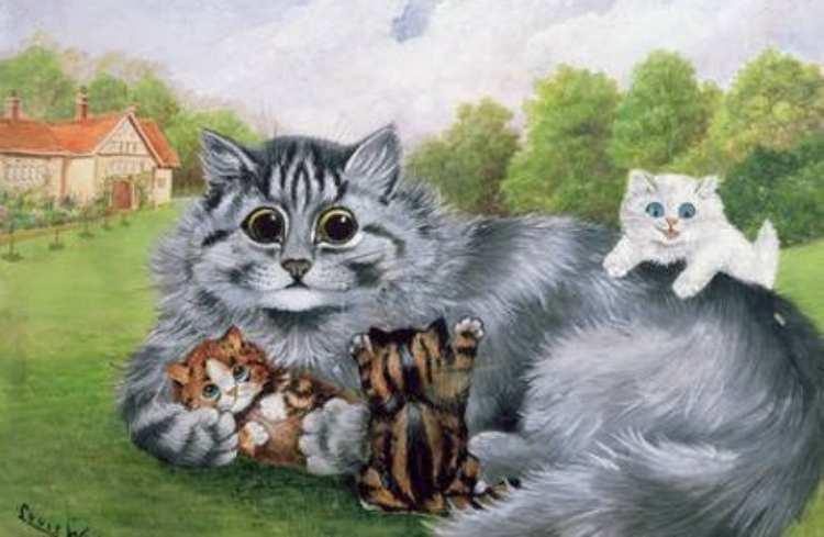 Louis Wain | Katzenmutter mit ihren Jungen