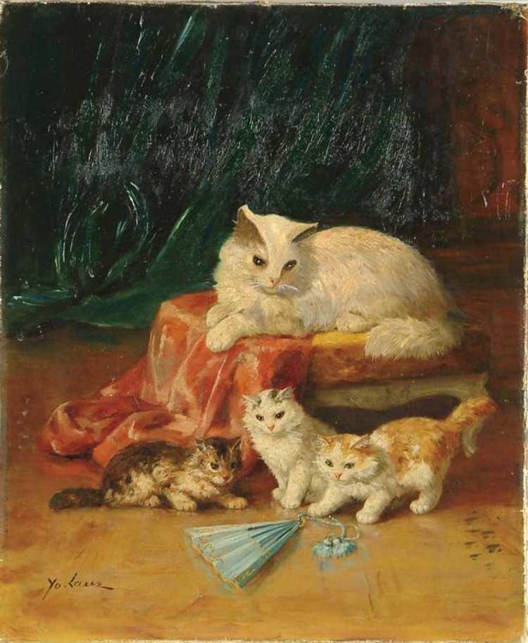 Marie Yvonne Laur, Katzenmutter mit ihren Jungen und einem blauen Fächer