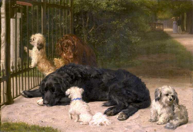 Otto Bache | Five Dogs, 1870