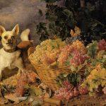 Ferdinand Georg Waldmüller | Ein Hund bei einem Traubenkorb in einer Landschaft, 1836