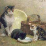Walter Frederick Osborne | Cat and Kittens, 1889