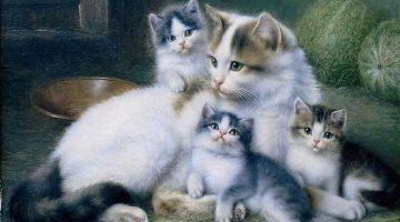 Wilhelm Friedrich Johann Schwar | Katzenmutter mit ihren Jungen