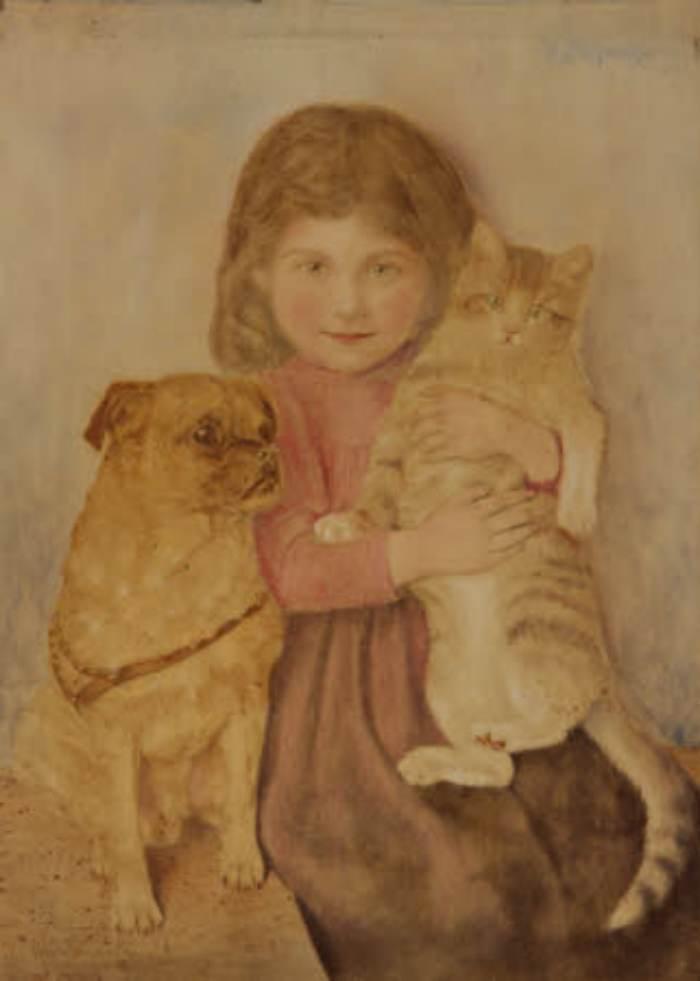 Wilhelm Friedrich Johann Schwar   Mädchen mit Hund und Katze   (c) National Trust